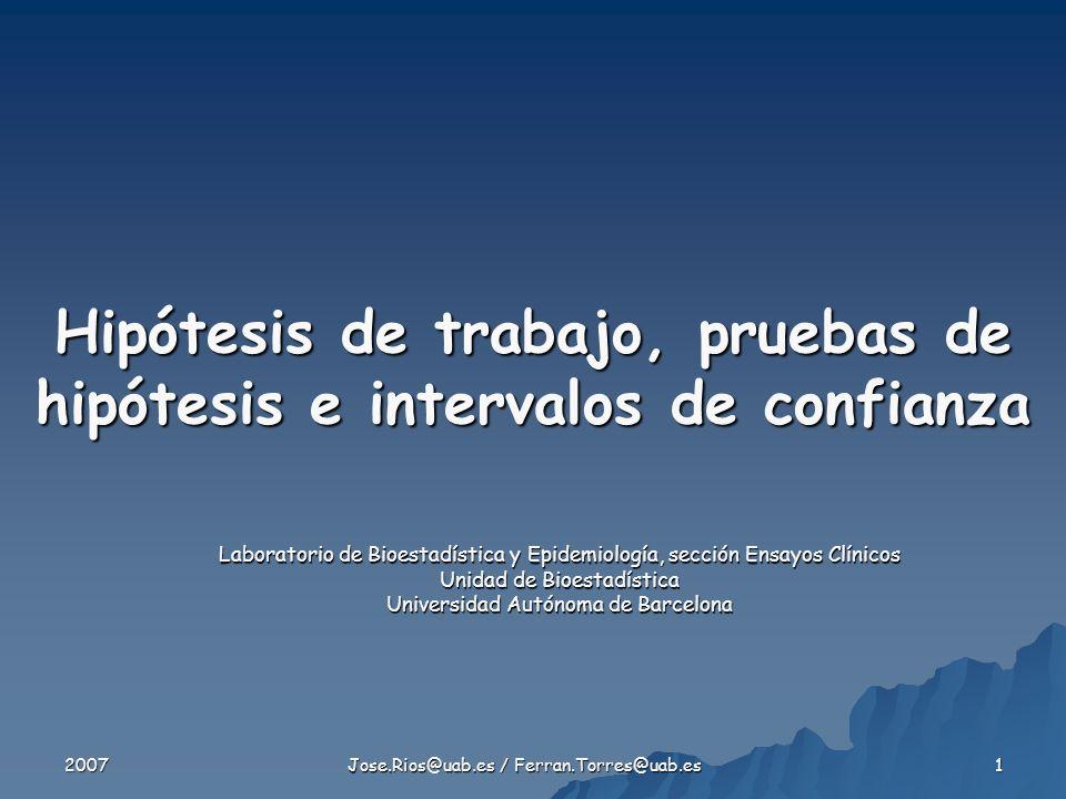 2007 Jose.Rios@uab.es / Ferran.Torres@uab.es 32 Intervalo de Confianza 2 grupos Dif.