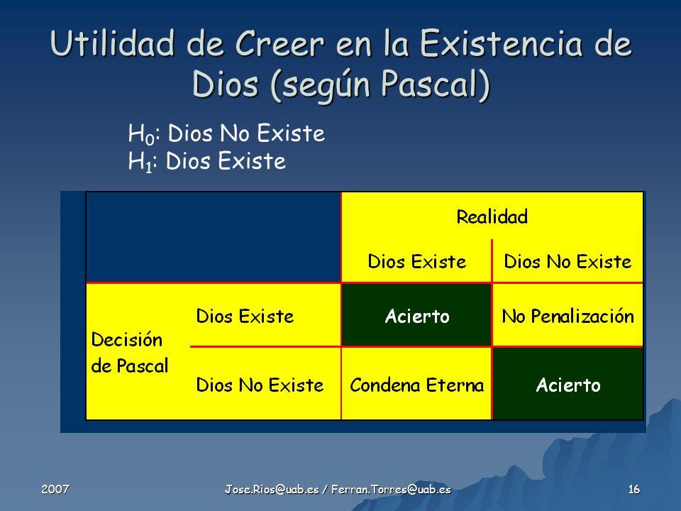 2007 Jose.Rios@uab.es / Ferran.Torres@uab.es 16 Utilidad de Creer en la Existencia de Dios (según Pascal) H 0 : Dios No Existe H 1 : Dios Existe