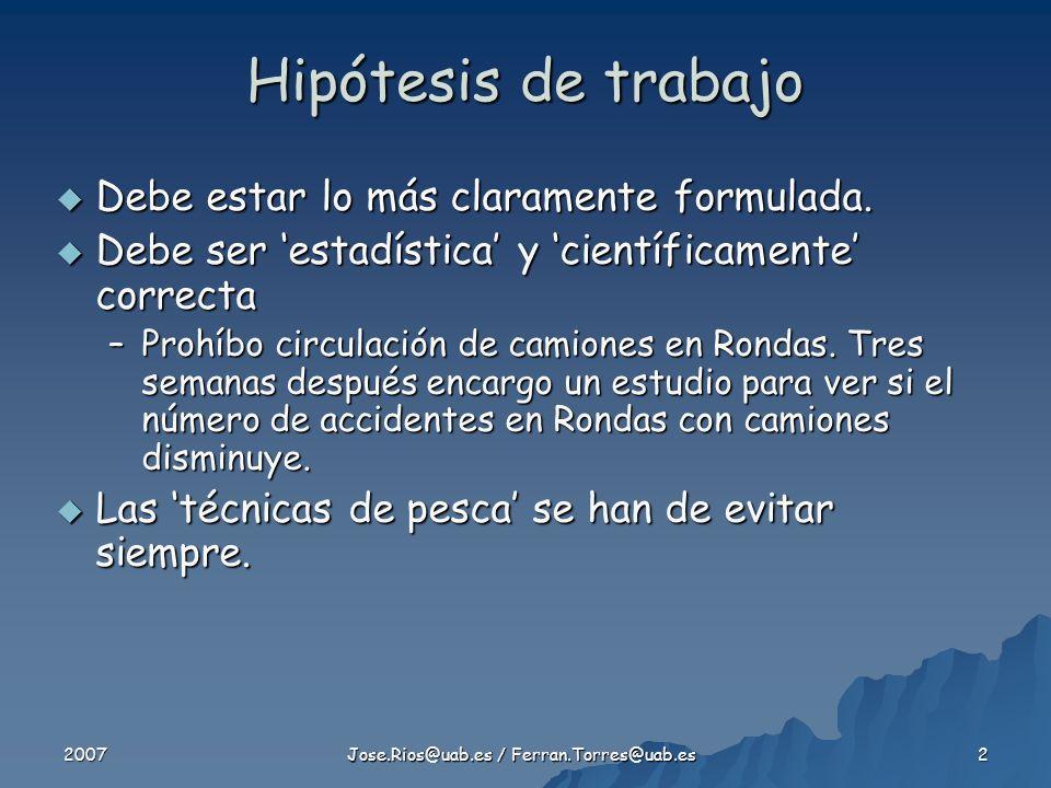 2007 Jose.Rios@uab.es / Ferran.Torres@uab.es 3 Por supuesto, LA HIPÓTESIS DE TRABAJO SE FORMULA CON ANTERIORIDAD A CUALQUIERA DE LOS PASOS Por supuesto, LA HIPÓTESIS DE TRABAJO SE FORMULA CON ANTERIORIDAD A CUALQUIERA DE LOS PASOS Hipótesis de trabajo