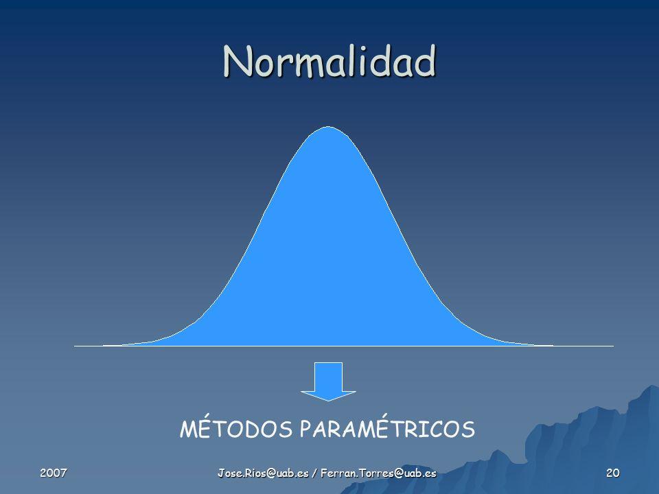 2007 Jose.Rios@uab.es / Ferran.Torres@uab.es 20 Normalidad MÉTODOS PARAMÉTRICOS
