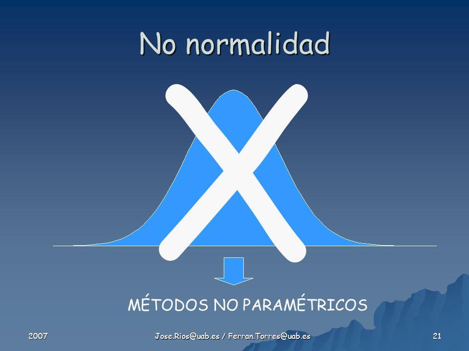 2007 Jose.Rios@uab.es / Ferran.Torres@uab.es 21 No normalidad MÉTODOS NO PARAMÉTRICOS X
