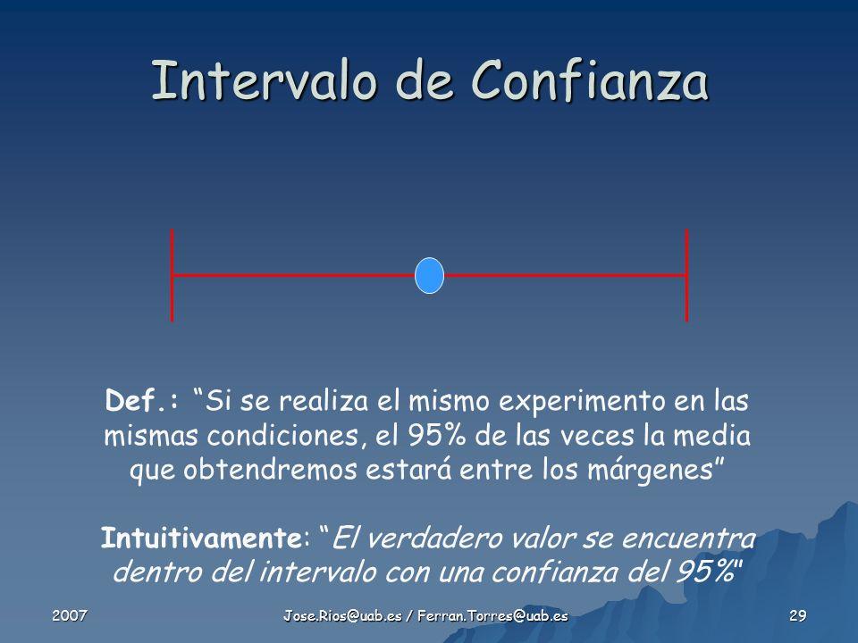 2007 Jose.Rios@uab.es / Ferran.Torres@uab.es 29 Intervalo de Confianza Def.: Si se realiza el mismo experimento en las mismas condiciones, el 95% de las veces la media que obtendremos estará entre los márgenes Intuitivamente: El verdadero valor se encuentra dentro del intervalo con una confianza del 95%