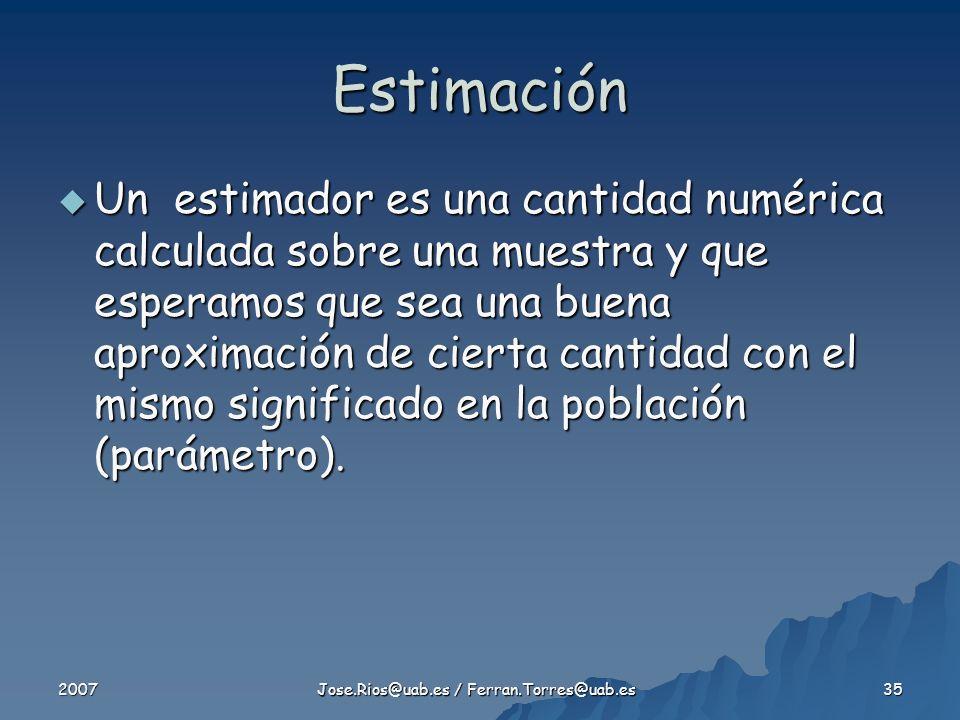 2007 Jose.Rios@uab.es / Ferran.Torres@uab.es 35 Estimación Un estimador es una cantidad numérica calculada sobre una muestra y que esperamos que sea una buena aproximación de cierta cantidad con el mismo significado en la población (parámetro).