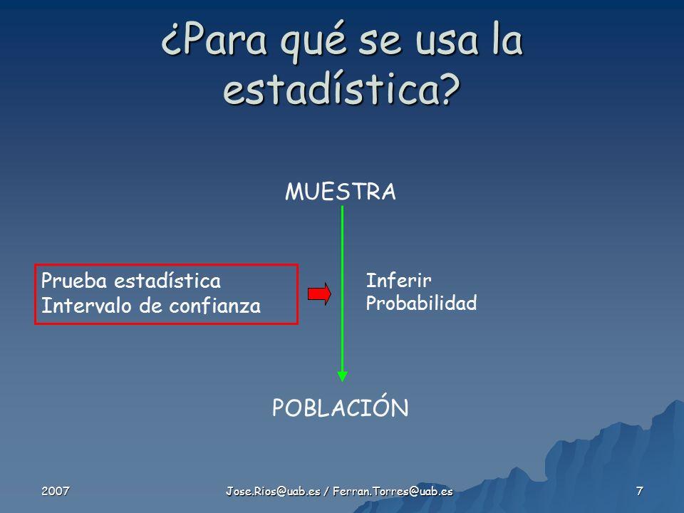2007 Jose.Rios@uab.es / Ferran.Torres@uab.es 8 Errores de Tipo I y II El valor del error tipo I ó es de 0.05 (5%) El valor del error tipo II ó es igual o superior a 0.20 (20%) El poder (1 - ) es igual ó superior a 0.80 (80%)