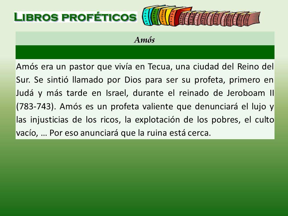 Amós era un pastor que vivía en Tecua, una ciudad del Reino del Sur. Se sintió llamado por Dios para ser su profeta, primero en Judá y más tarde en Is