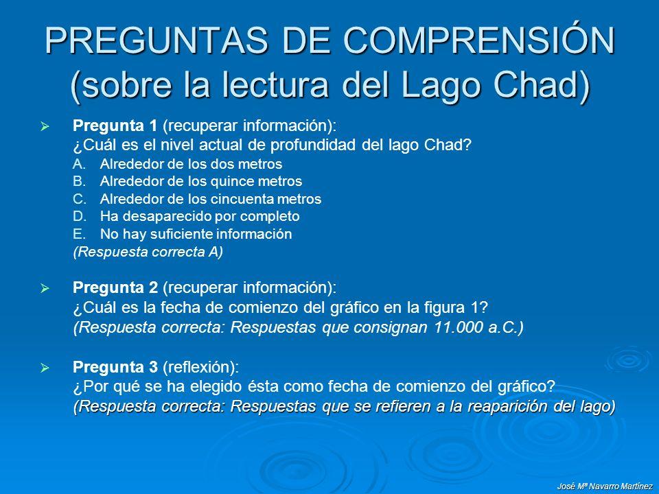 José Mª Navarro Martínez PREGUNTAS DE COMPRENSIÓN (sobre la lectura del Lago Chad) Pregunta 1 (recuperar información): ¿Cuál es el nivel actual de profundidad del lago Chad.