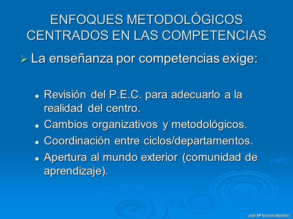 José Mª Navarro Martínez ENFOQUES METODOLÓGICOS CENTRADOS EN LAS COMPETENCIAS La enseñanza por competencias exige: La enseñanza por competencias exige: Revisión del P.E.C.