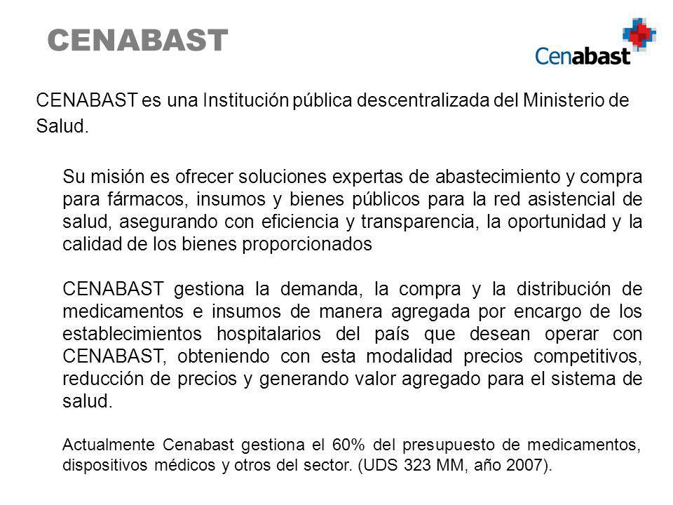 CENABAST es una Institución pública descentralizada del Ministerio de Salud. Su misión es ofrecer soluciones expertas de abastecimiento y compra para