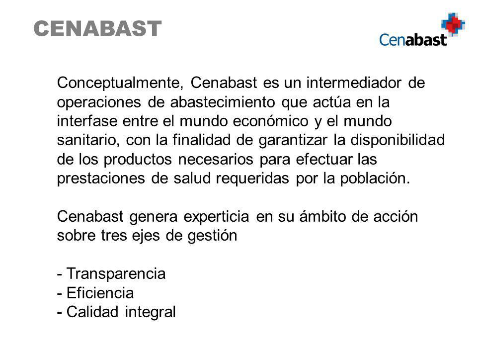 Conceptualmente, Cenabast es un intermediador de operaciones de abastecimiento que actúa en la interfase entre el mundo económico y el mundo sanitario, con la finalidad de garantizar la disponibilidad de los productos necesarios para efectuar las prestaciones de salud requeridas por la población.