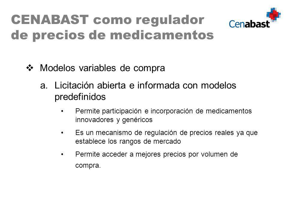 Modelos variables de compra a.Licitación abierta e informada con modelos predefinidos Permite participación e incorporación de medicamentos innovadore