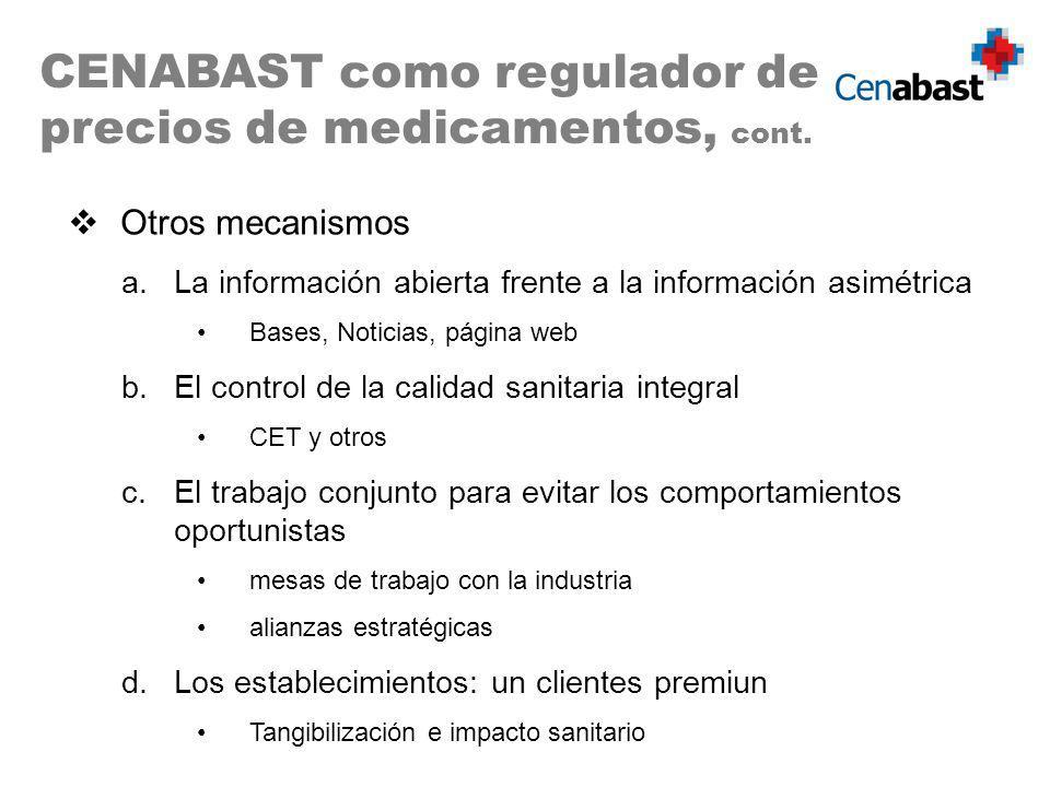 CENABAST como regulador de precios de medicamentos, cont. Otros mecanismos a.La información abierta frente a la información asimétrica Bases, Noticias
