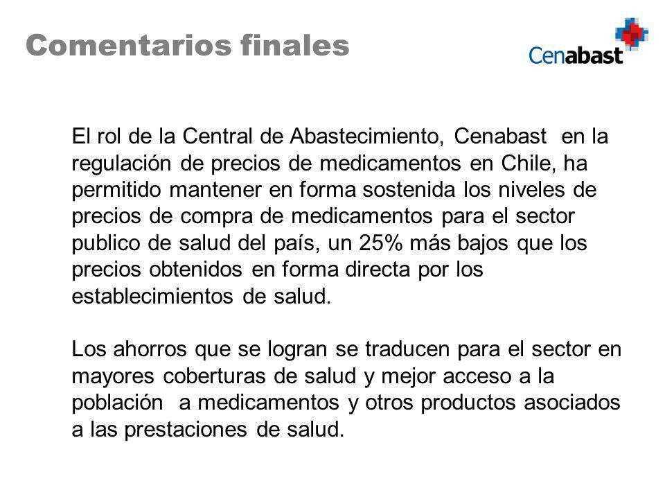 El rol de la Central de Abastecimiento, Cenabast en la regulación de precios de medicamentos en Chile, ha permitido mantener en forma sostenida los niveles de precios de compra de medicamentos para el sector publico de salud del país, un 25% más bajos que los precios obtenidos en forma directa por los establecimientos de salud.