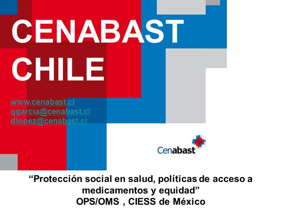 CENABAST CHILE www.cenabast.cl ggarcia@cenabast.cl dlopez@cenabast.cl Protección social en salud, políticas de acceso a medicamentos y equidad OPS/OMS, CIESS de México