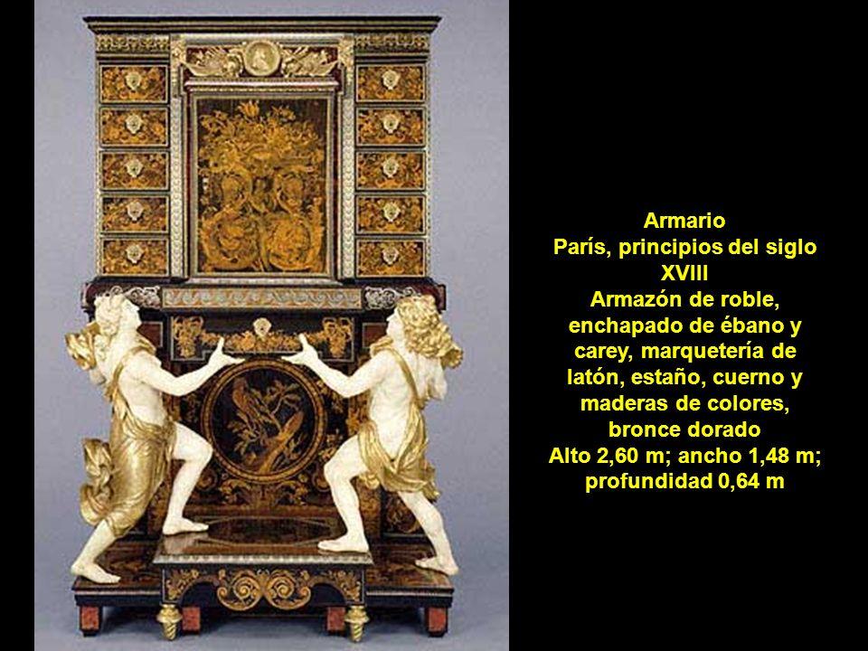 Armario París, principios del siglo XVIII Armazón de roble, enchapado de ébano y carey, marquetería de latón, estaño, cuerno y maderas de colores, bro