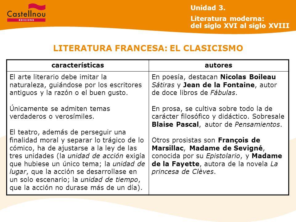 LITERATURA FRANCESA: EL CLASICISMO Unidad 3. Literatura moderna: del siglo XVI al siglo XVIII característicasautores El arte literario debe imitar la