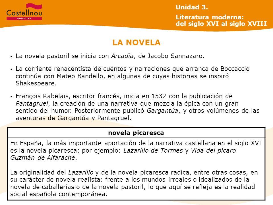 LA NOVELA La novela pastoril se inicia con Arcadia, de Jacobo Sannazaro. La corriente renacentista de cuentos y narraciones que arranca de Boccaccio c