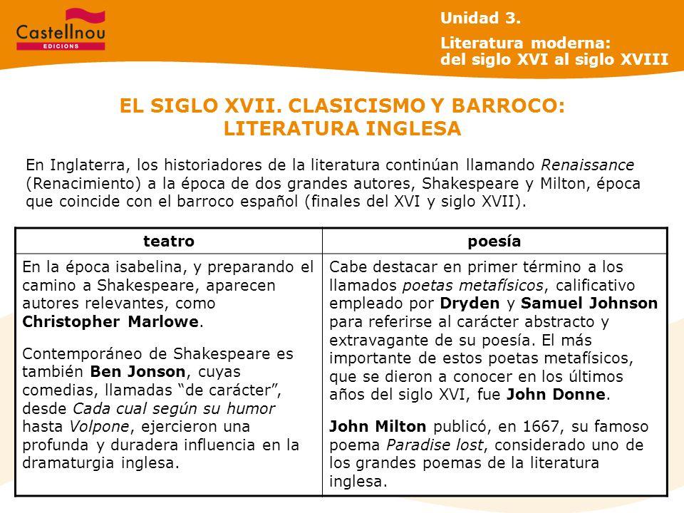 EL SIGLO XVII. CLASICISMO Y BARROCO: LITERATURA INGLESA En Inglaterra, los historiadores de la literatura continúan llamando Renaissance (Renacimiento