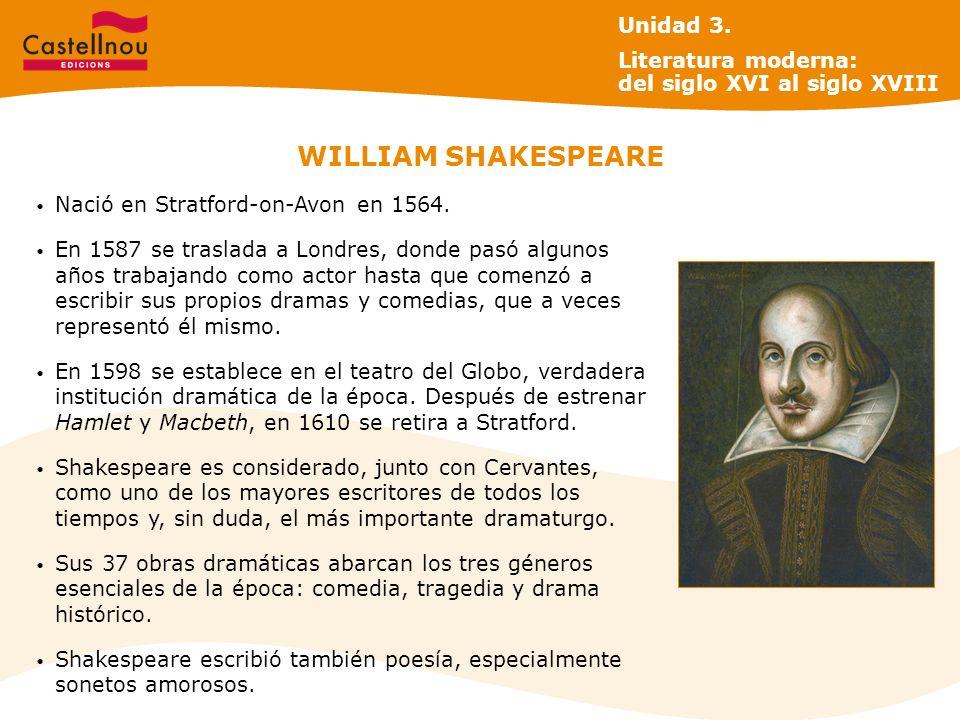WILLIAM SHAKESPEARE Nació en Stratford-on-Avon en 1564. En 1587 se traslada a Londres, donde pasó algunos años trabajando como actor hasta que comenzó