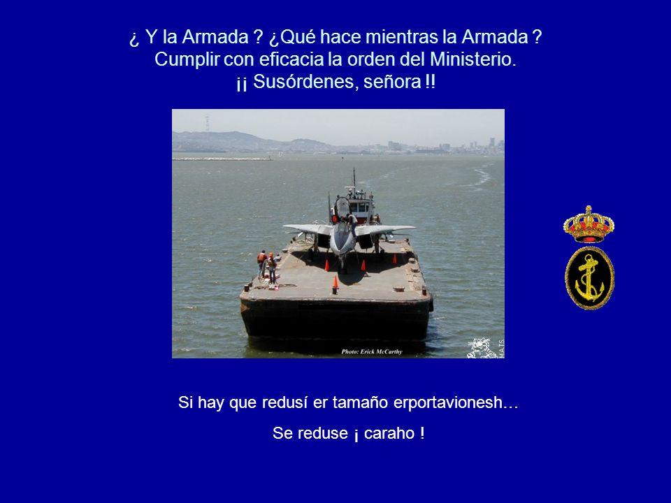 ¿ Y la Armada . ¿Qué hace mientras la Armada . Cumplir con eficacia la orden del Ministerio.