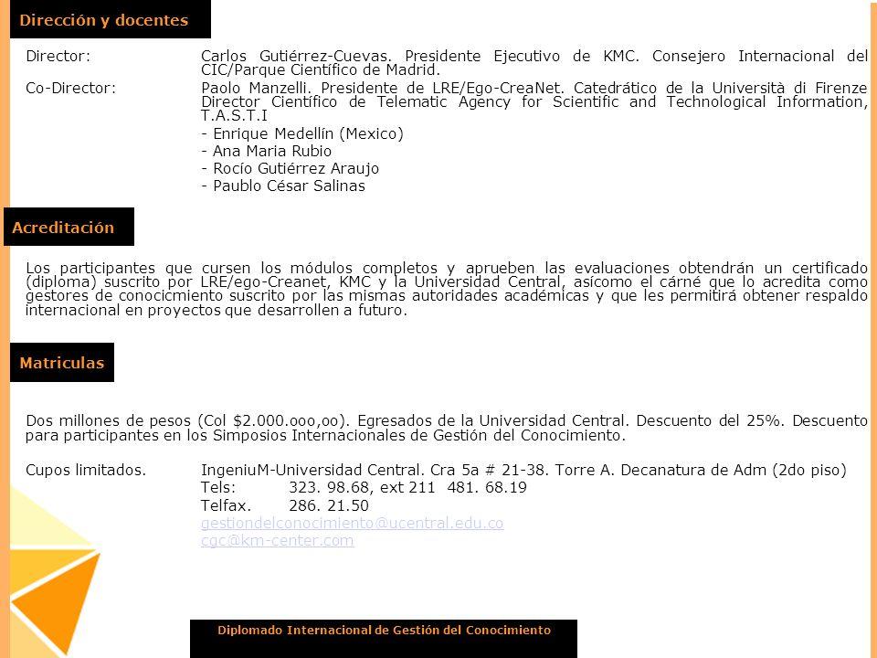 Diplomado Internacional de Gestión del Conocimiento Dirección y docentes Director:Carlos Gutiérrez-Cuevas. Presidente Ejecutivo de KMC. Consejero Inte