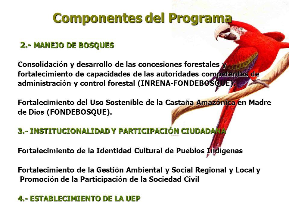Componentes del Programa 2.- MANEJO DE BOSQUES 2.- MANEJO DE BOSQUES Consolidaci ó n y desarrollo de las concesiones forestales y fortalecimiento de c
