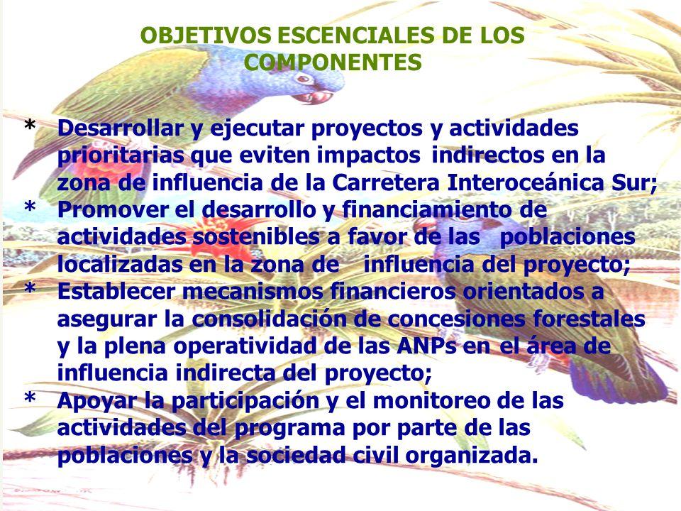 OBJETIVOS ESCENCIALES DE LOS COMPONENTES *Desarrollar y ejecutar proyectos y actividades prioritarias que eviten impactos indirectos en la zona de inf
