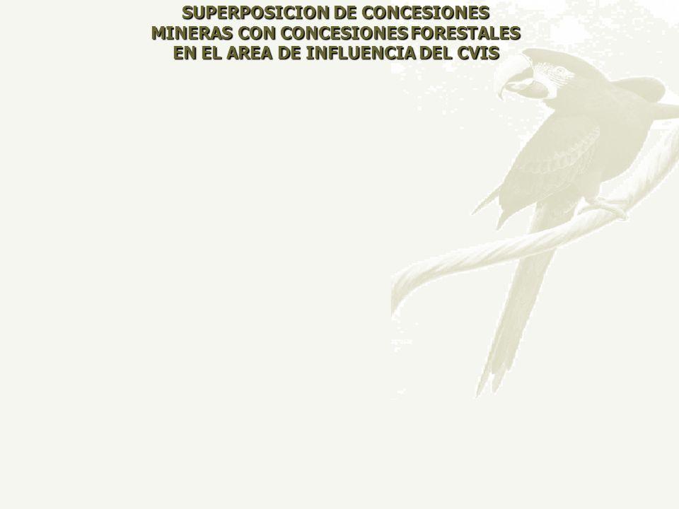 SUPERPOSICION DE CONCESIONES MINERAS CON CONCESIONES FORESTALES EN EL AREA DE INFLUENCIA DEL CVIS