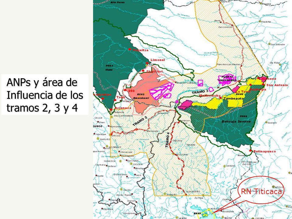 ANPs y área de Influencia de los tramos 2, 3 y 4 RN Titicaca