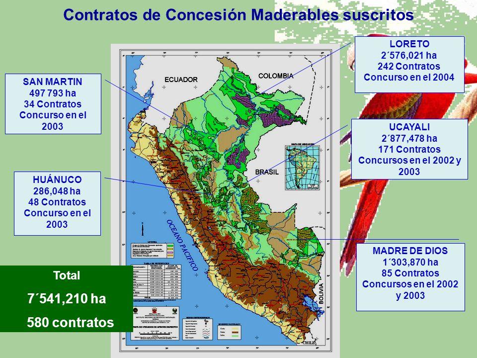 UCAYALI 2´877,478 ha 171 Contratos Concursos en el 2002 y 2003 MADRE DE DIOS 1´303,870 ha 85 Contratos Concursos en el 2002 y 2003 SAN MARTIN 497 793