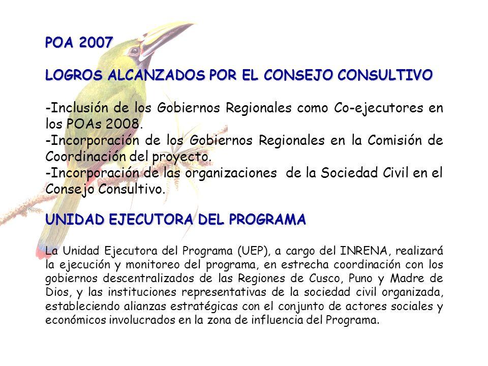 POA 2007 LOGROS ALCANZADOS POR EL CONSEJO CONSULTIVO -Inclusión de los Gobiernos Regionales como Co-ejecutores en los POAs 2008. -Incorporación de los