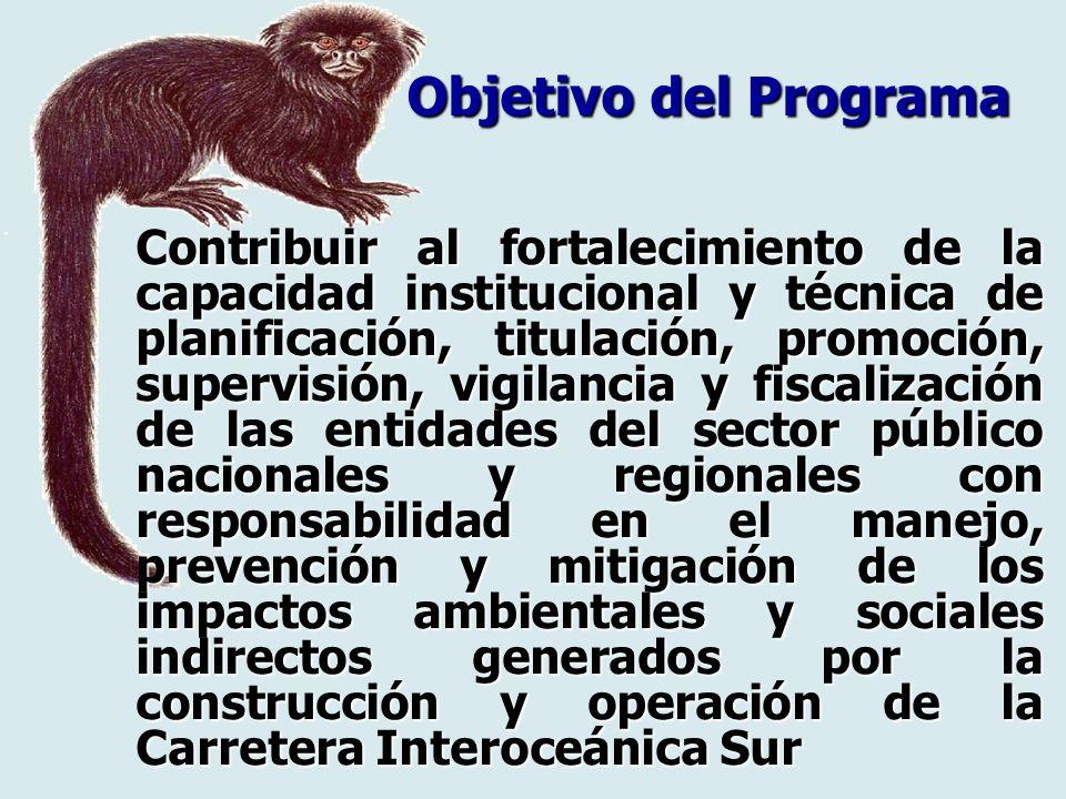 Contribuir al fortalecimiento de la capacidad institucional y técnica de planificación, titulación, promoción, supervisión, vigilancia y fiscalización
