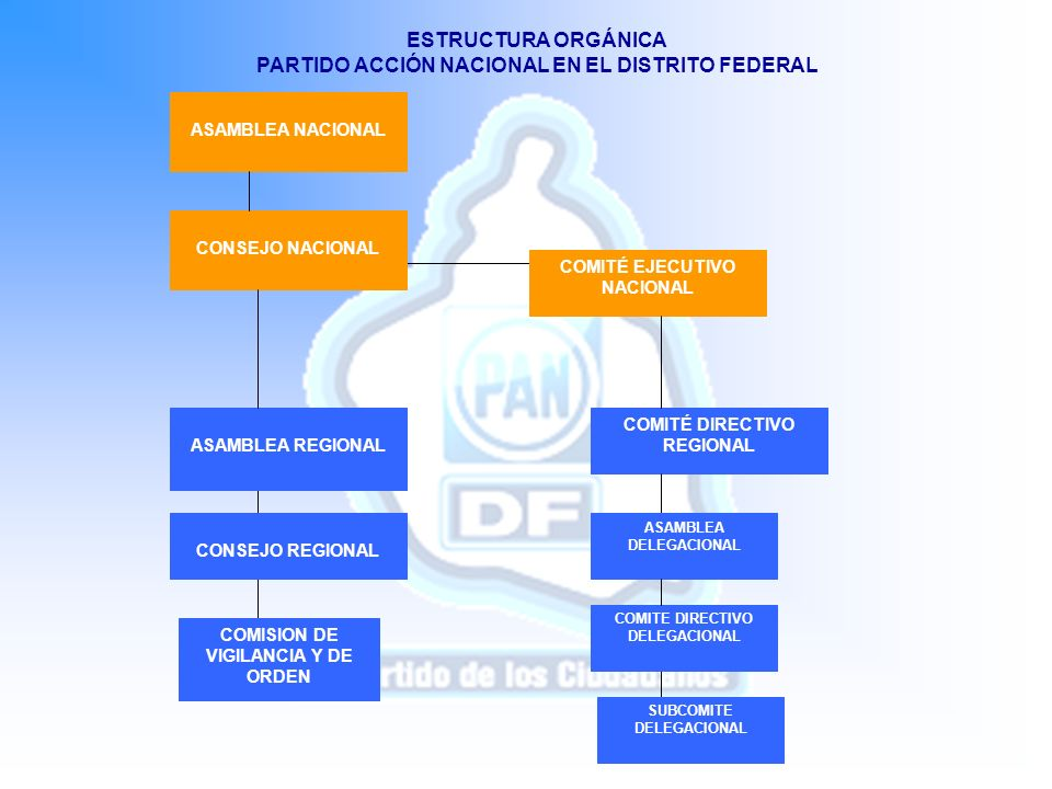 COMITÉ DIRECTIVO REGIONAL COMITE DIRECTIVO DELEGACIONAL SUBCOMITE DELEGACIONAL COMISION DE VIGILANCIA Y DE ORDEN CONSEJO REGIONAL ASAMBLEA NACIONAL CO