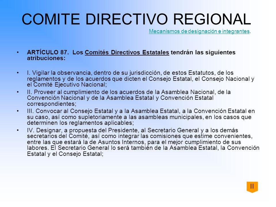 COMITE DIRECTIVO REGIONAL Mecanismos de designación e integrantes. Mecanismos de designación e integrantes ARTÍCULO 87. Los Comités Directivos Estatal
