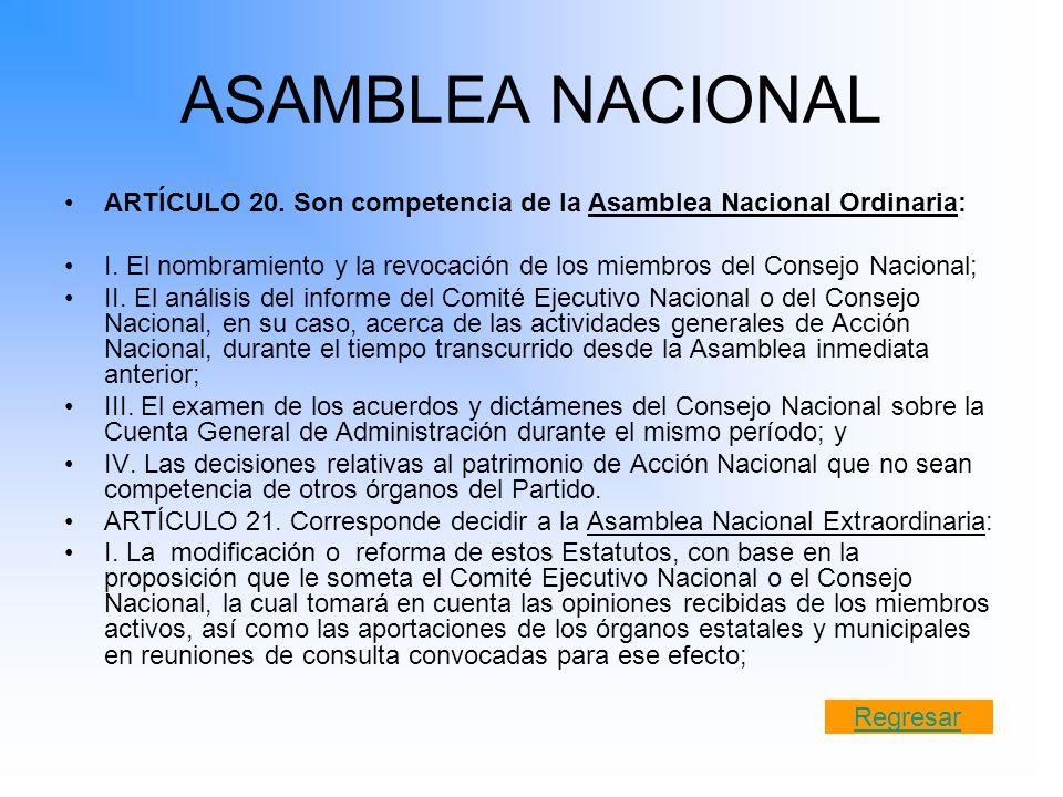 ASAMBLEA NACIONAL ARTÍCULO 20. Son competencia de la Asamblea Nacional Ordinaria: I. El nombramiento y la revocación de los miembros del Consejo Nacio