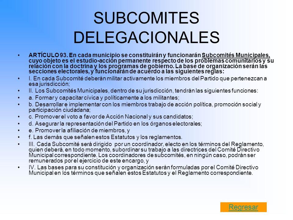 SUBCOMITES DELEGACIONALES ARTÍCULO 93. En cada municipio se constituirán y funcionarán Subcomités Municipales, cuyo objeto es el estudio-acción perman
