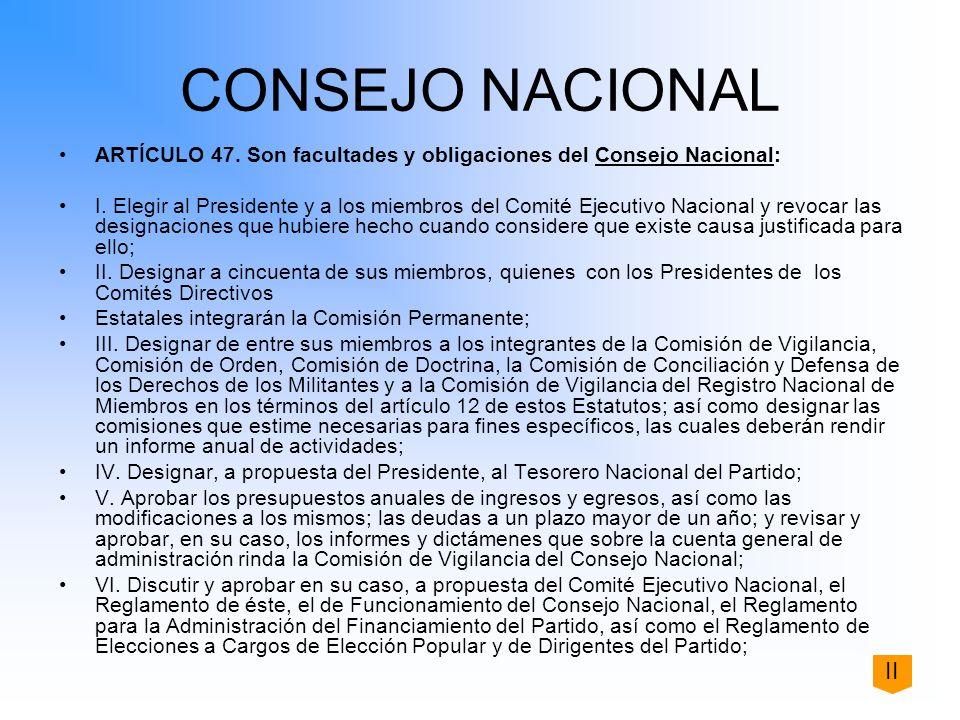 CONSEJO NACIONAL ARTÍCULO 47. Son facultades y obligaciones del Consejo Nacional: I. Elegir al Presidente y a los miembros del Comité Ejecutivo Nacion