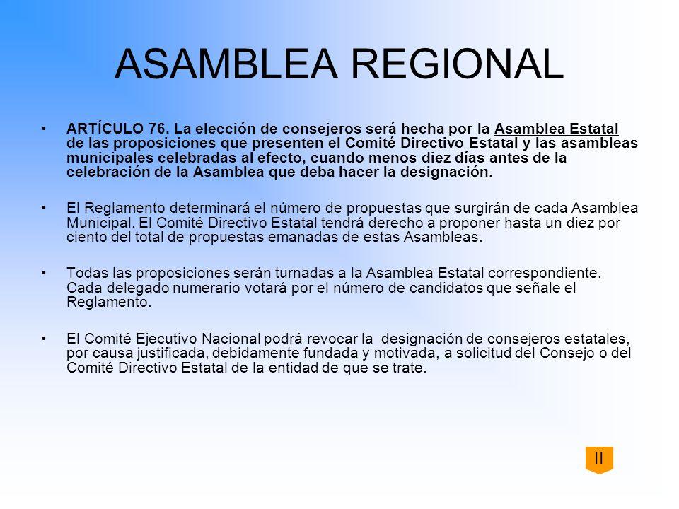 ASAMBLEA REGIONAL ARTÍCULO 76. La elección de consejeros será hecha por la Asamblea Estatal de las proposiciones que presenten el Comité Directivo Est