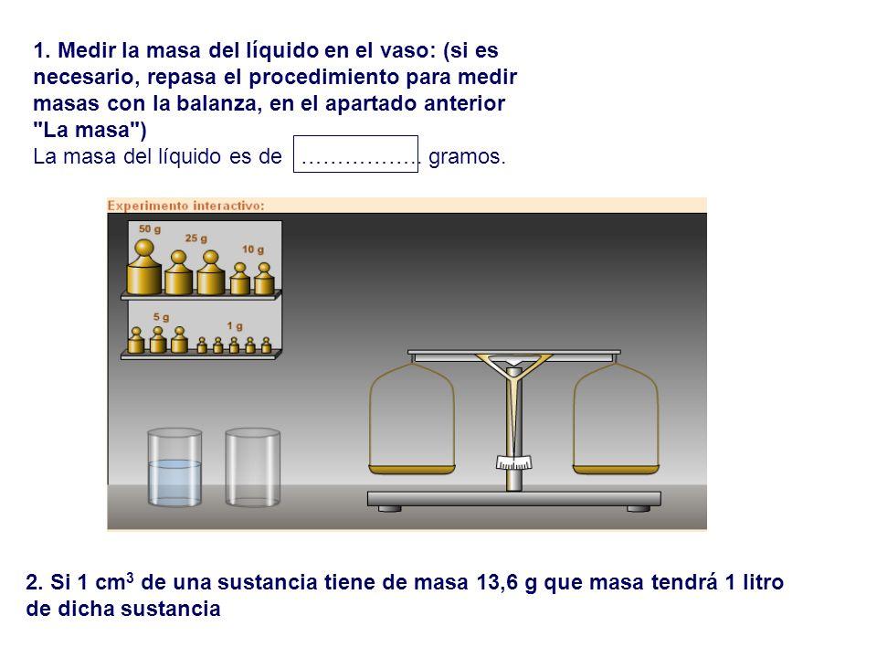 1. Medir la masa del líquido en el vaso: (si es necesario, repasa el procedimiento para medir masas con la balanza, en el apartado anterior