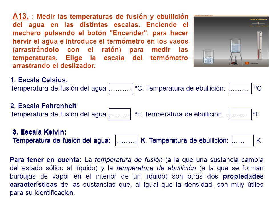 Para tener en cuenta: La temperatura de fusión (a la que una sustancia cambia del estado sólido al líquido) y la temperatura de ebullición (a la que s