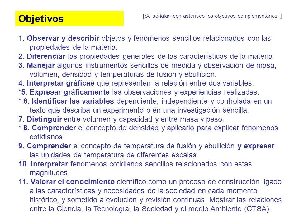 Objetivos 1. Observar y describir objetos y fenómenos sencillos relacionados con las propiedades de la materia. 2. Diferenciar las propiedades general