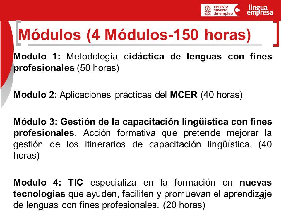 15 Modulo 1: Metodología didáctica de lenguas con fines profesionales (50 horas) Modulo 2: Aplicaciones prácticas del MCER (40 horas) Módulo 3: Gestión de la capacitación lingüística con fines profesionales.