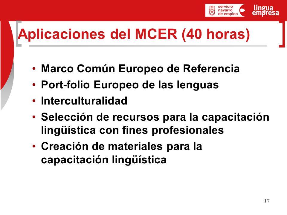 17 Aplicaciones del MCER (40 horas) Marco Común Europeo de Referencia Port-folio Europeo de las lenguas Interculturalidad Selección de recursos para la capacitación lingüística con fines profesionales Creación de materiales para la capacitación lingüística