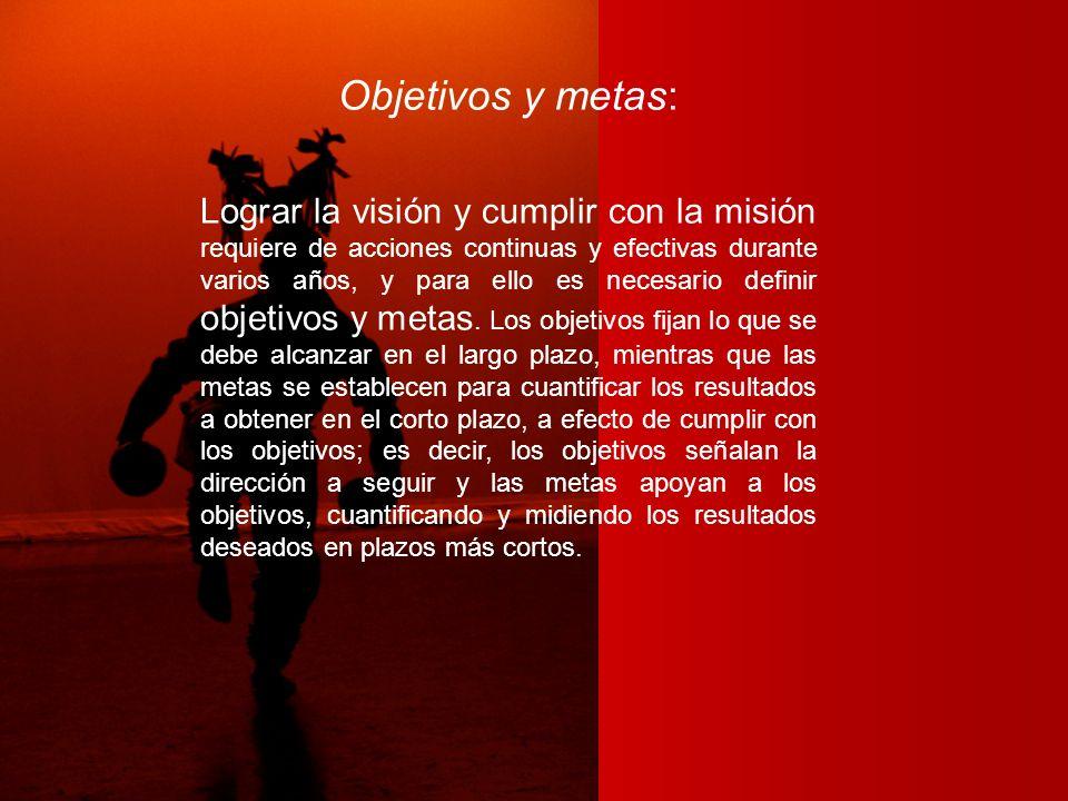 Objetivos y metas: Lograr la visión y cumplir con la misión requiere de acciones continuas y efectivas durante varios años, y para ello es necesario d