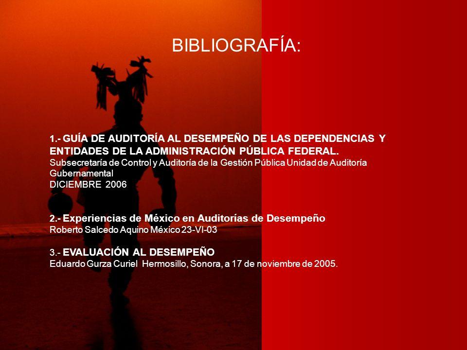 BIBLIOGRAFÍA: 1.- GUÍA DE AUDITORÍA AL DESEMPEÑO DE LAS DEPENDENCIAS Y ENTIDADES DE LA ADMINISTRACIÓN PÚBLICA FEDERAL. Subsecretaría de Control y Audi