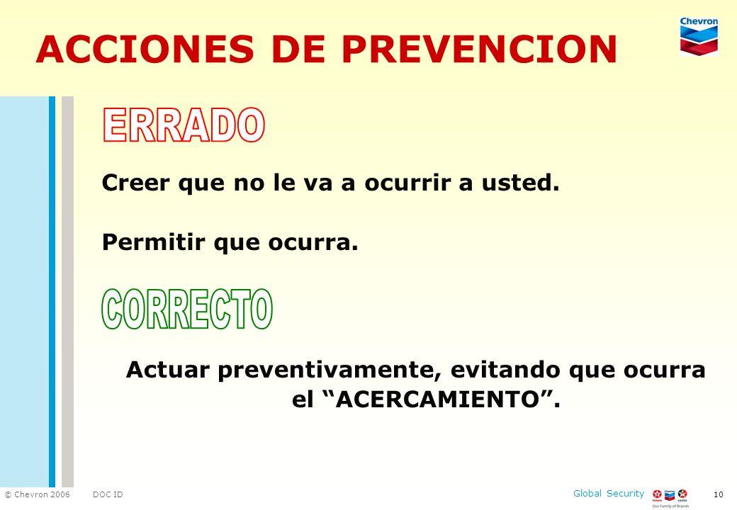 DOC ID © Chevron 2006 Global Security 10 ACCIONES DE PREVENCION Creer que no le va a ocurrir a usted. Permitir que ocurra. Actuar preventivamente, evi
