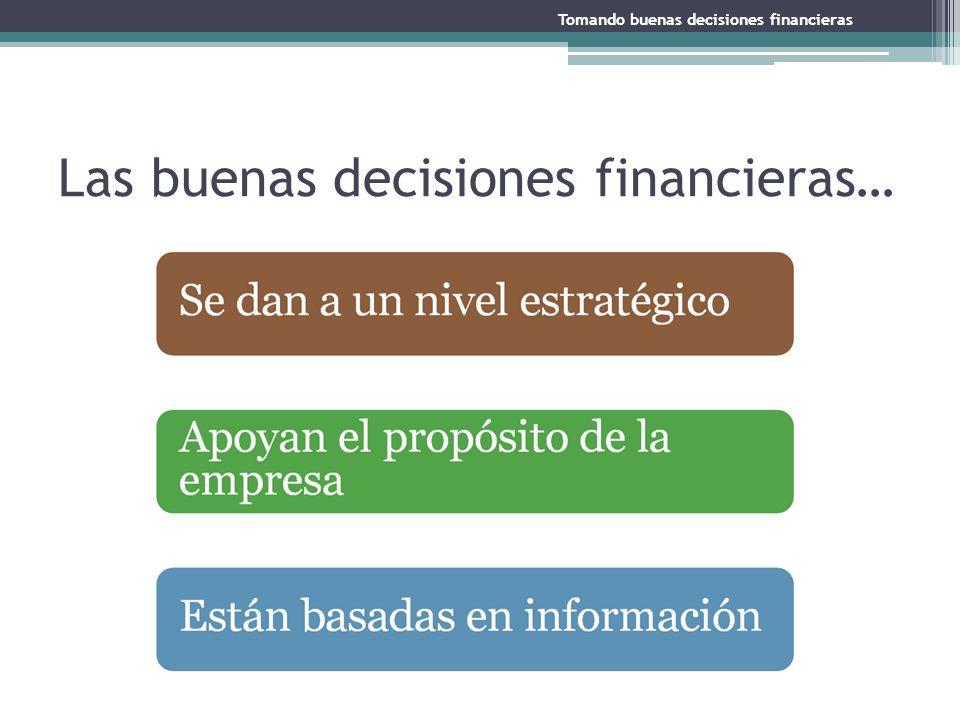 Las buenas decisiones financieras… Tomando buenas decisiones financieras