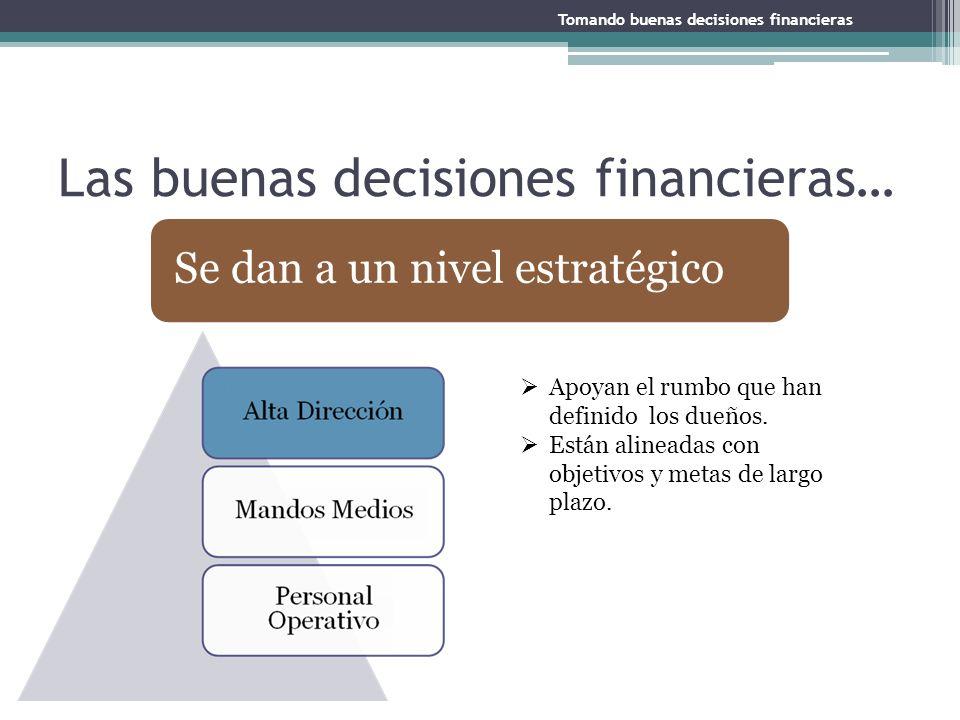 Las buenas decisiones financieras… Apoyan el rumbo que han definido los dueños. Están alineadas con objetivos y metas de largo plazo. Se dan a un nive
