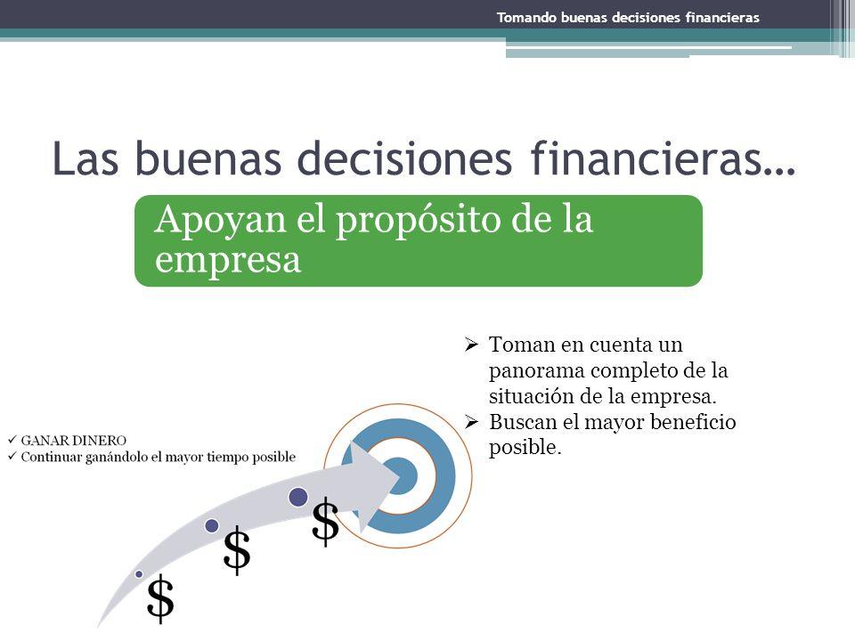 Apoyan el propósito de la empresa Las buenas decisiones financieras… Toman en cuenta un panorama completo de la situación de la empresa. Buscan el may