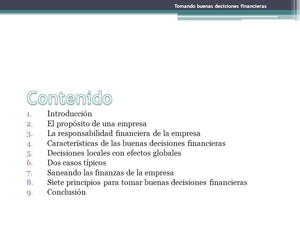 1.Introducción 2.El propósito de una empresa 3.La responsabilidad financiera de la empresa 4.Características de las buenas decisiones financieras 5.De