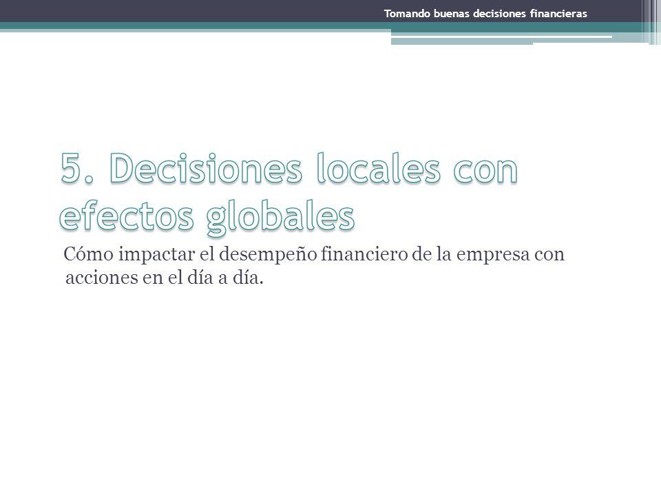 Cómo impactar el desempeño financiero de la empresa con acciones en el día a día. Tomando buenas decisiones financieras